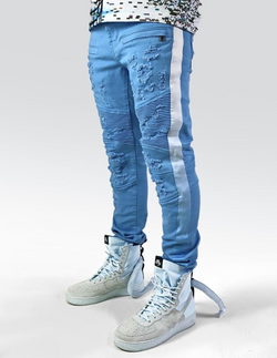 Preme N.C Blue faded tape Denim Jeans (Baby Blue)