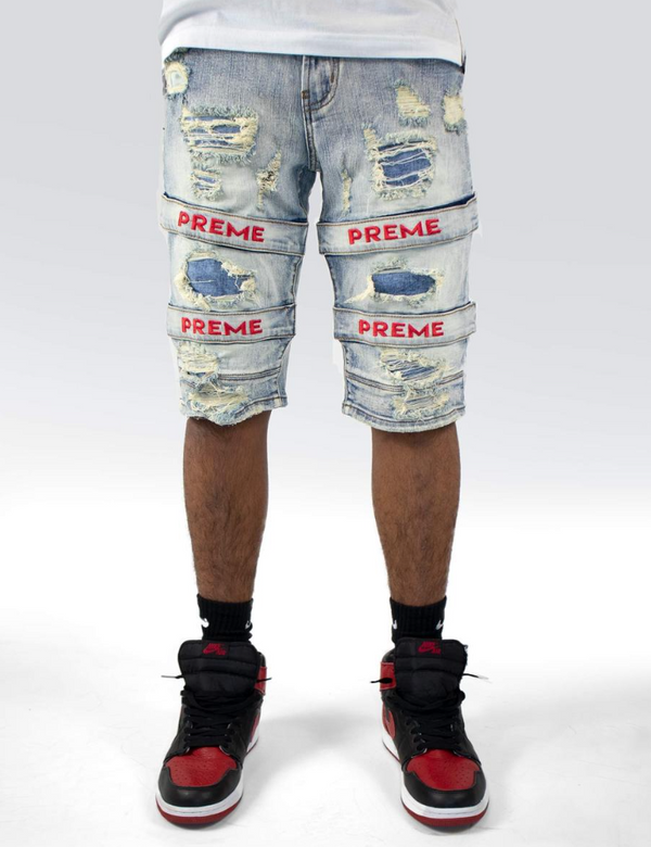 Preme Denim Red Stripe Shorts (Red Stripe)