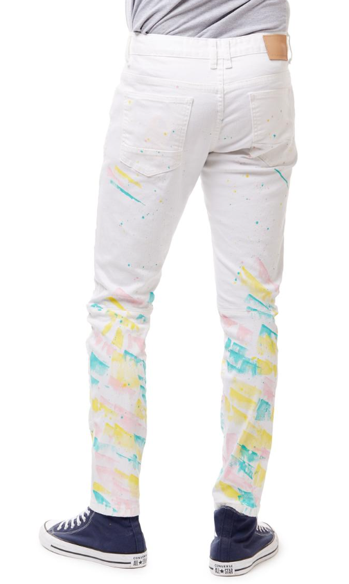 Smoke Rise Fashion Jeans With Paint (Spectrum White)