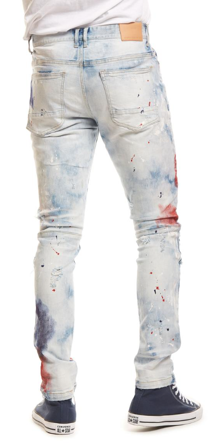 Smoke Rise Fashion Jeans With Paint (Patriot Blue)