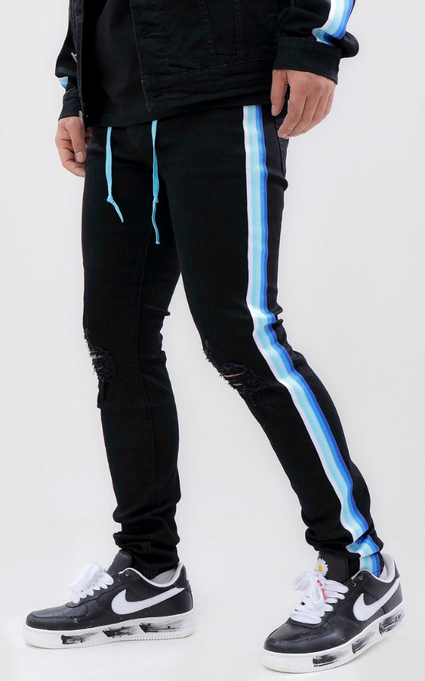 Hudson Fade To Blue Taped Jeans (Black)