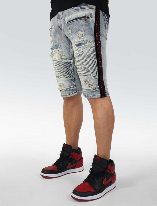Preme Denim Side Rhinestone Stripe Shorts (Male Indigo/Red)