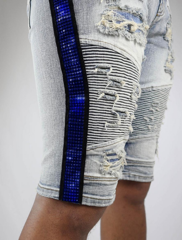 Preme Denim Side Rhinestone Stripe Shorts (Itacha Indigo/Blue)