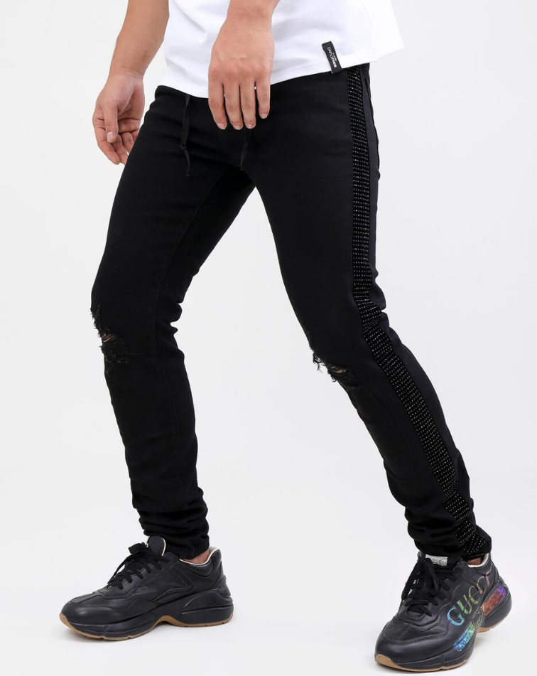 Hudson Black Stone Taped Denim Jeans (Black)