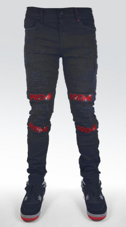 Preme Denim Buffalo Black Jeans (Red Rhinestone Strap)