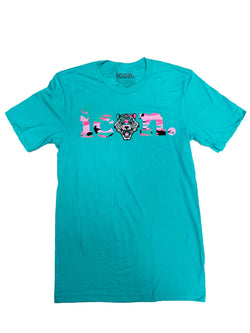 Icon Tiger Logo Tee Shirt (Turquoise/Pink Green Camo)