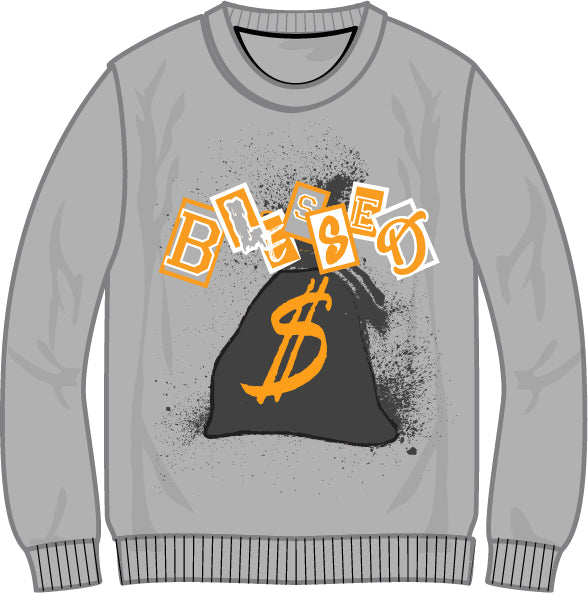 Retro Label Blessed Crewneck (Retro 3 Cool Grey)