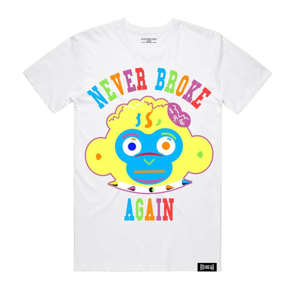 Never Broke Again Monkey Head Colorful Tshirt (White)