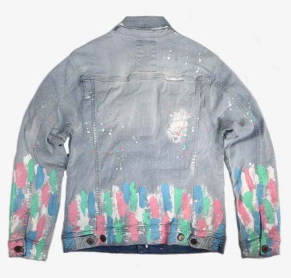 Copper Rivet Denim Paint Splatter Jacket (Light Wash)