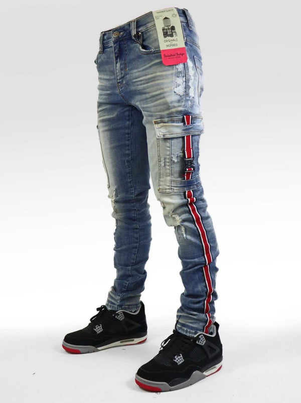 Industrial Indigo Cargo Taping Jean (Blue/Red)