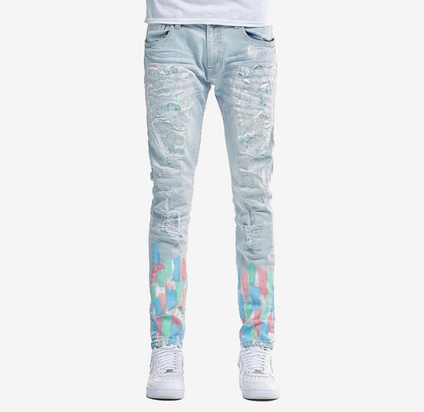 Copper Rivet Denim Paint Splatter Jean (Light Wash)
