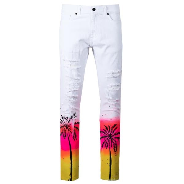 Golden Denim Palms Jean (White)