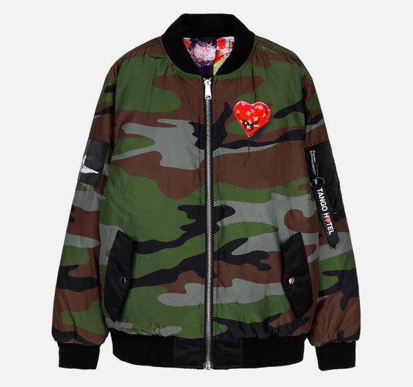 Tango Hotel Bandaged Heart MA1 Reversible Jacket (Camo)