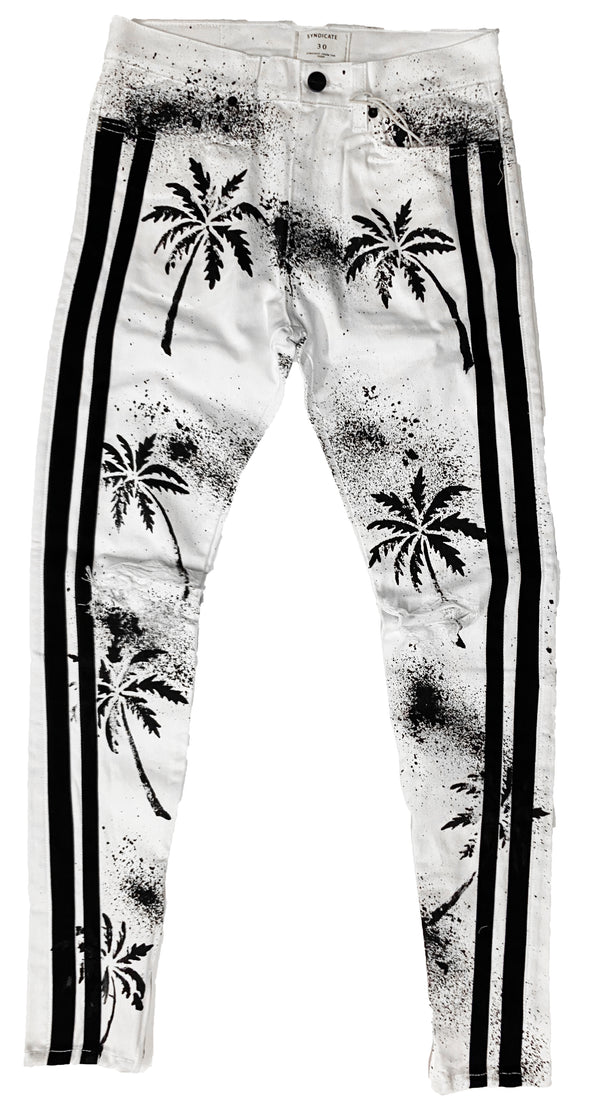 Syndicate by Golden Denim All Over Palm Jeans (White)