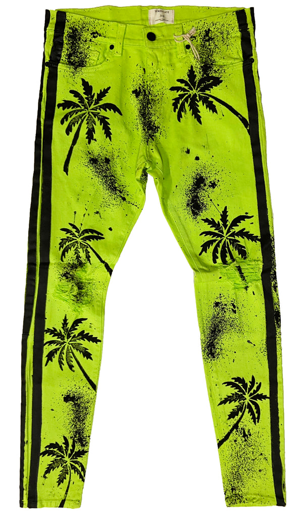 Syndicate by Golden Denim All Over Palm Jeans (Green)