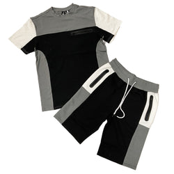 Genuine Color Block Shirt and Short Set (Black/Grey/White)