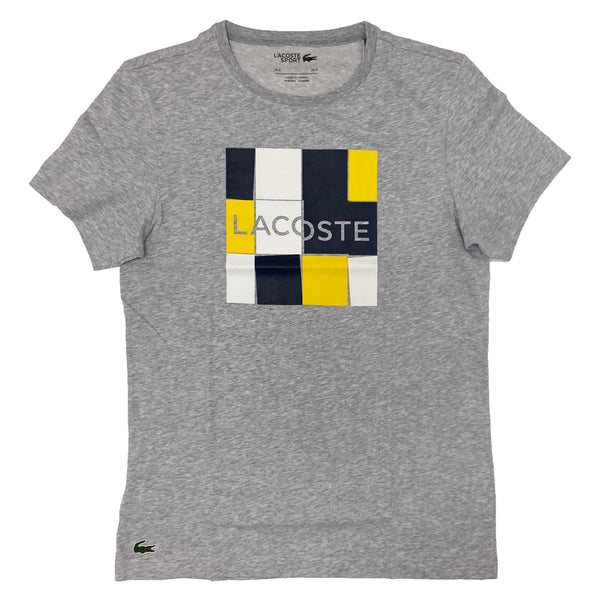 Lacoste Sport Print T-shirt (Grey/Blue/Yellow)