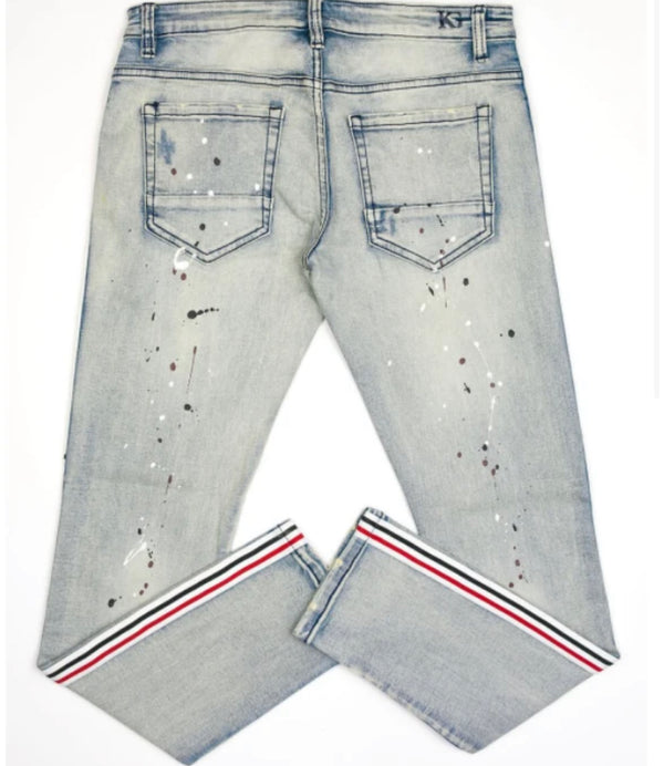 Kilogram Plain Splatter Denim (Black/Red Stripes)