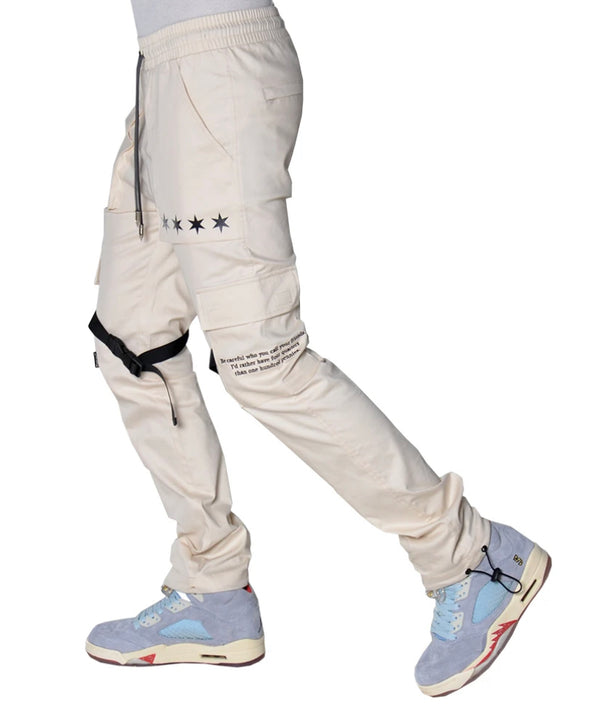 THC X THE SHOP 147 Four Quarters Flared Cargo Pants (Light Tan)