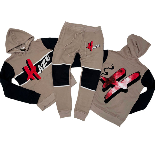 Retro Label Haze Hoodie & Jogger Set (Retro 4 Taupe Haze)