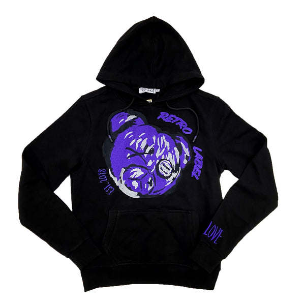 Retro Label Retro Bear Hoodie (Retro 12 Dark Concord)