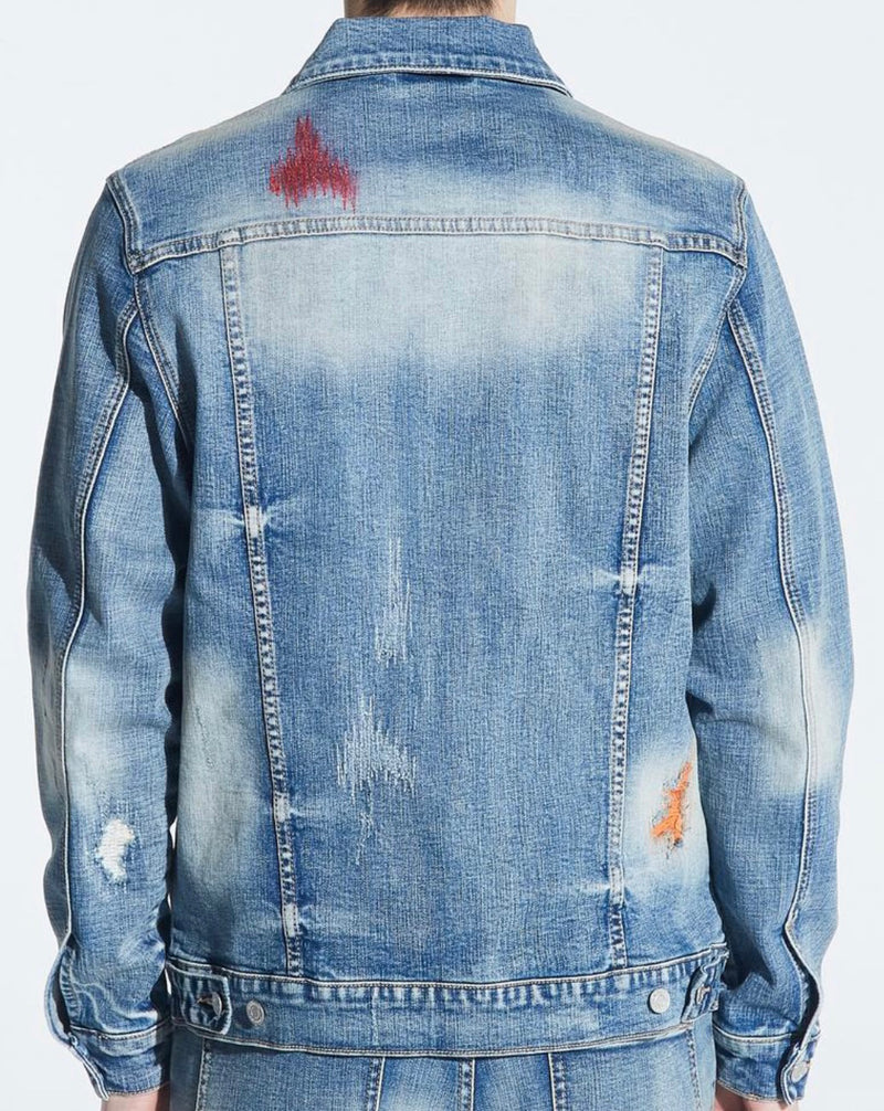 Embellish Hamlin Denim Jacket (Light Indigo Patches)