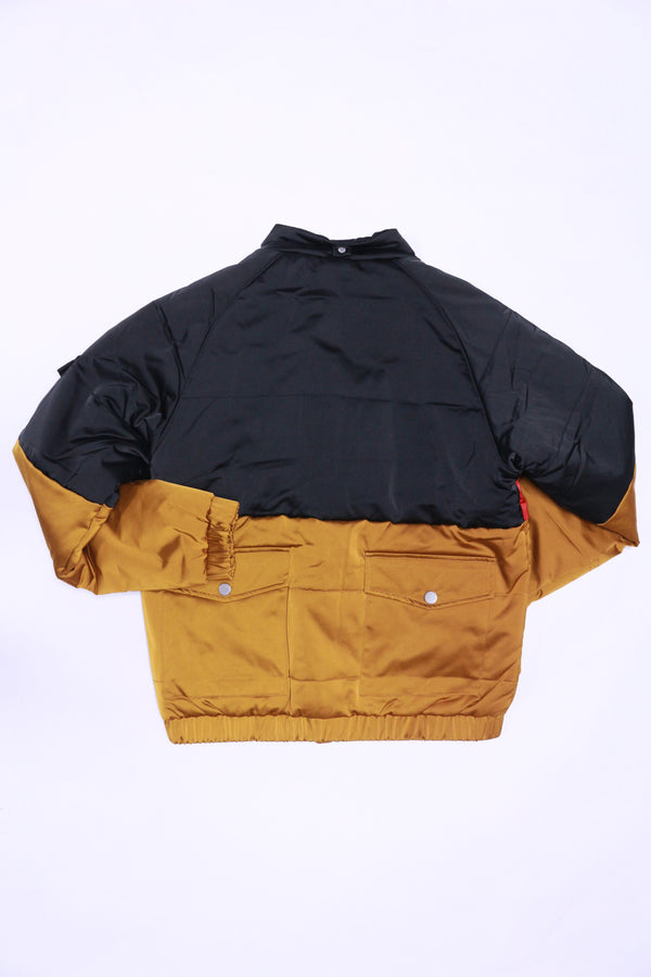 Profound Three Tone Puffer Jacket (Black/Red/Gold)