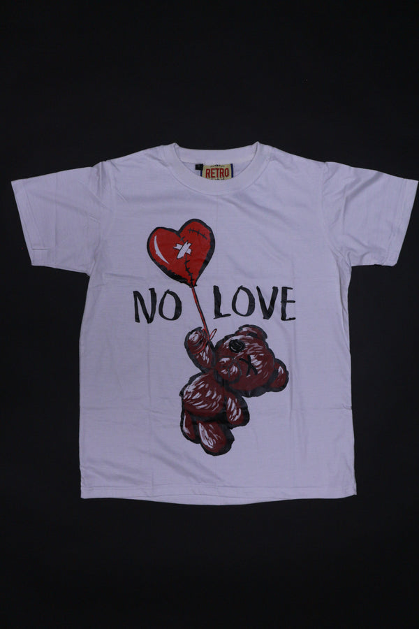 Retro Label No Love Shirt (White/Burgundy)