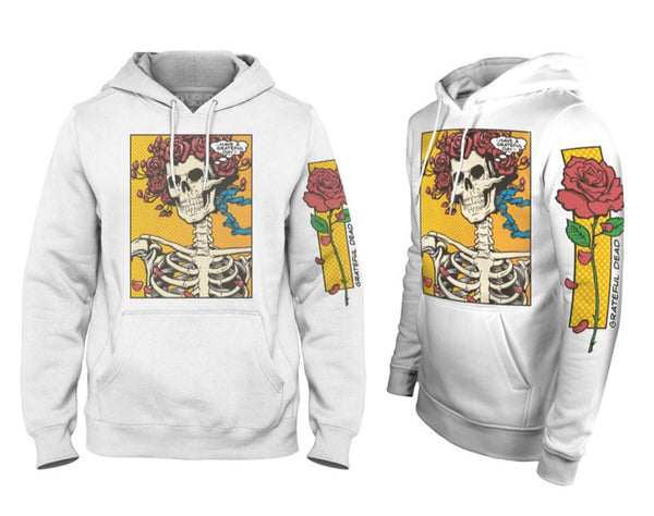 Liquid Blue Grateful Dead Pop Art Bertha Hoodie (White)