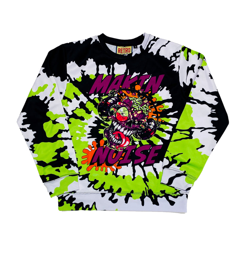 Retro Label Making Noise Crewneck (Black/White Tie Dye)