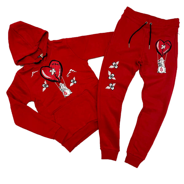 Retro Label Hot Air Hoodie & Jogger Set (Retro 4 Fire Red)