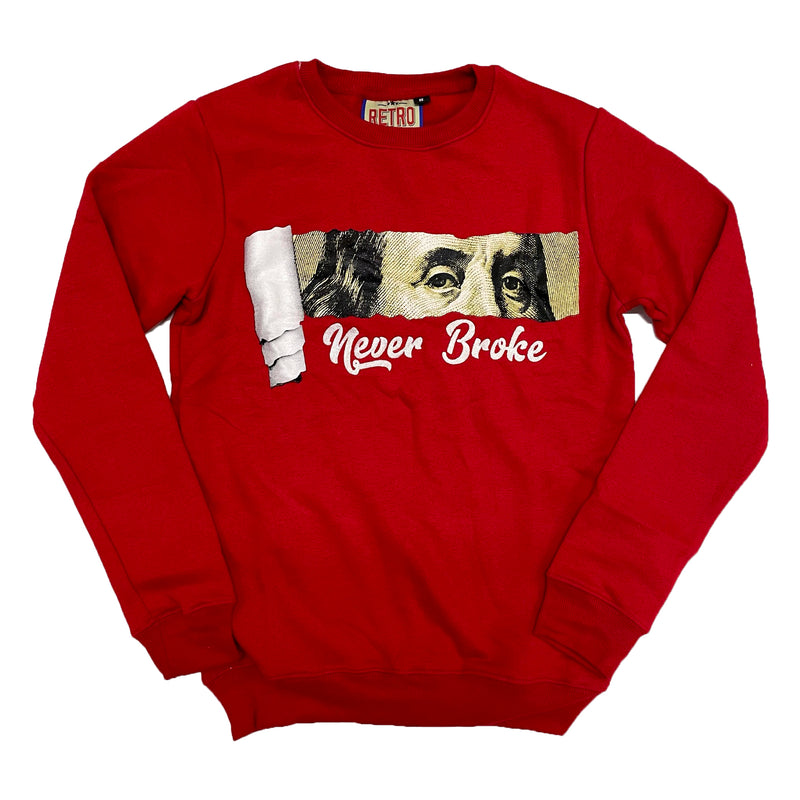 Retro Label Never Broke Crewneck  (Retro 4 Fire Red)