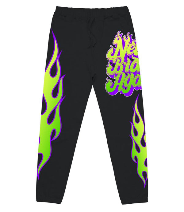 Never Broke Again Flame Joggers (Black)