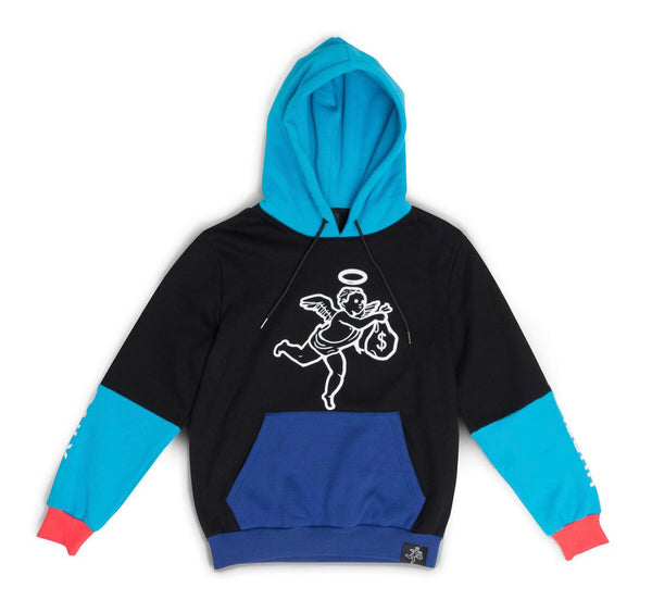 Hustle Daily Paneled Angel Hoodie (Black/Blue)