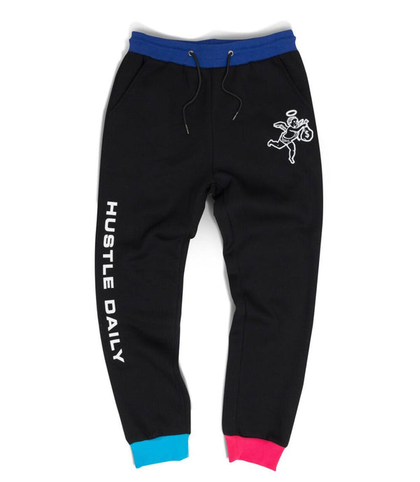Hustle Daily Paneled Angel Jogger (Black/Blue)