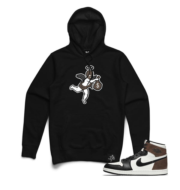 Hustle Daily Ski Mask Angel Chenille Patch Hoodie (Black/Brown)