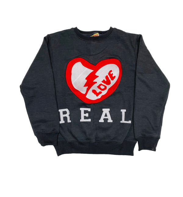 Retro Label Real Love Crewneck (Retro 12 Grey)