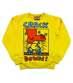 Retro Label Crack Down Crewneck (Yellow)