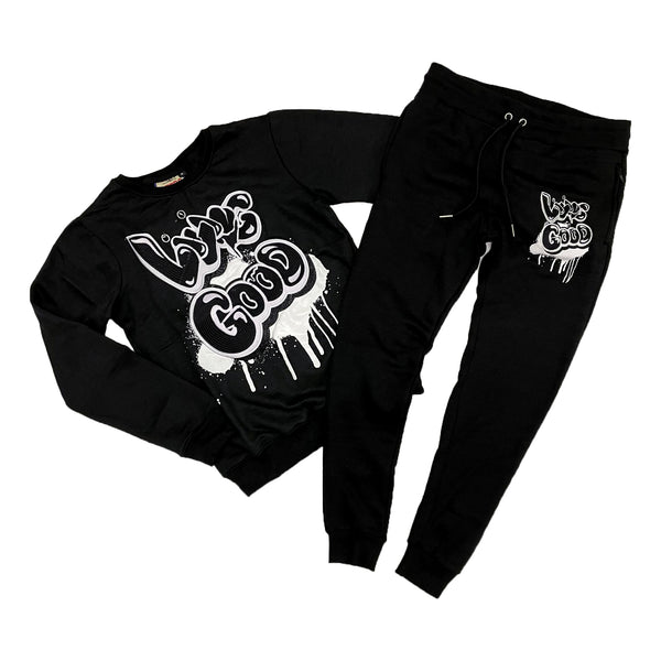 Retro Label Living Good Crewneck & Jogger Set (Retro 11 Jubilee)