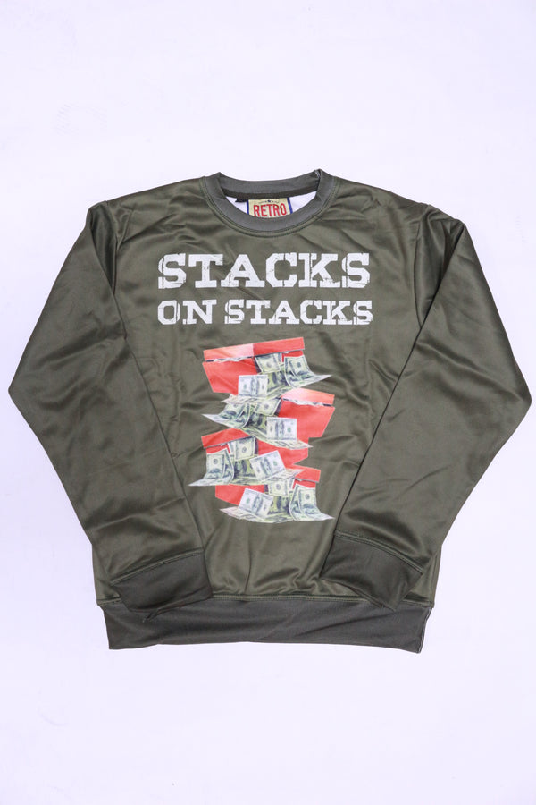 RETRO LABEL Stacks On Stacks Crewneck (Olive)