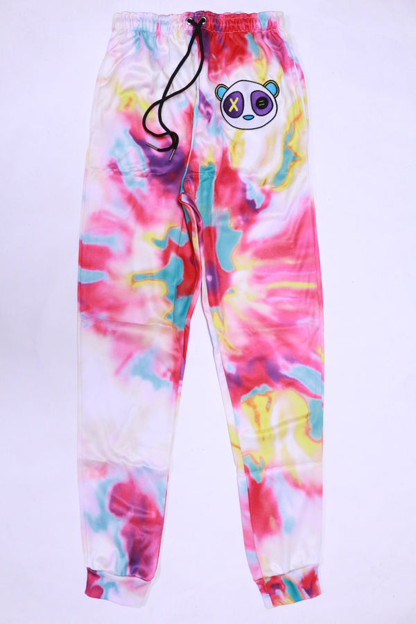 RETRO LABEL Panda Joggers White (Tie Dye)
