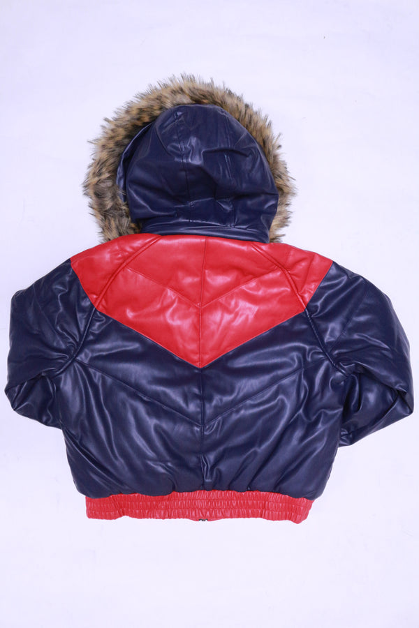 DAKOMA Women Colorblock Leather Jacket W/Fur Hood (Navy/Red)