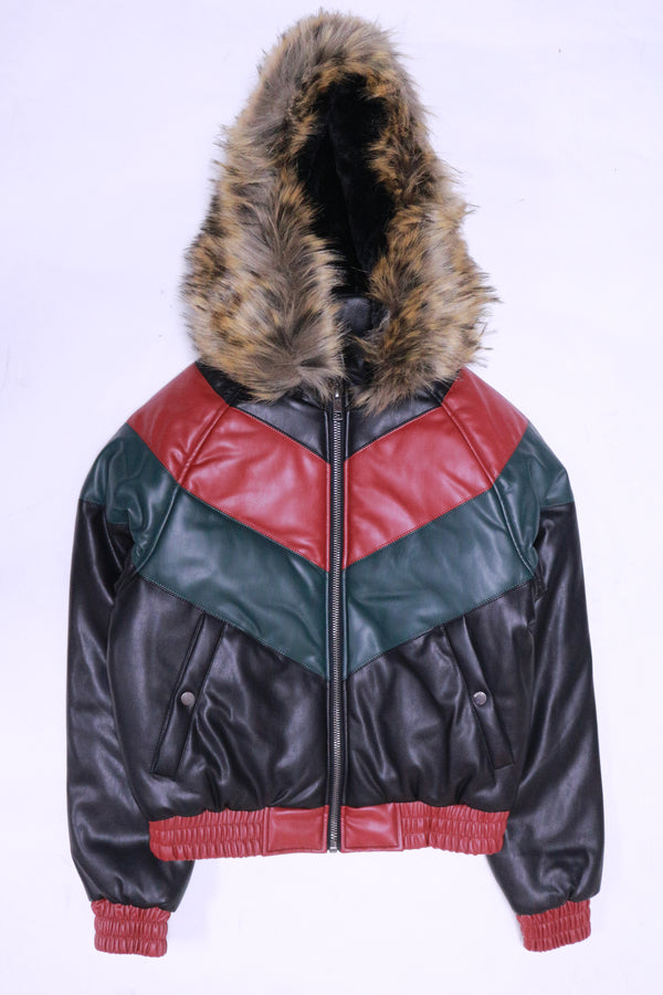 DAKOMA Women Colorblock Leather Jacket W/Fur Hood (Black/Red/Green)