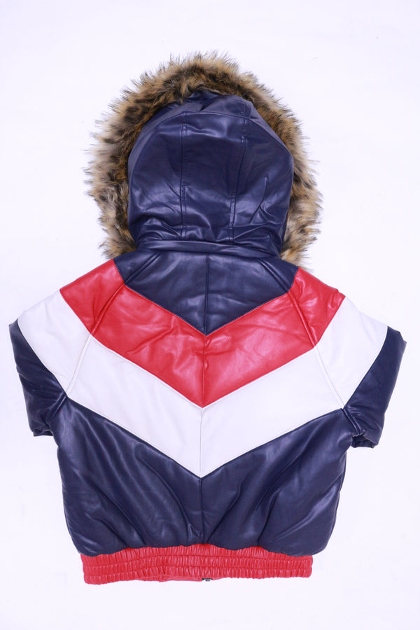 DAKOMA Women Colorblock Leather Jacket W/Fur Hood (Navy/Red/White)