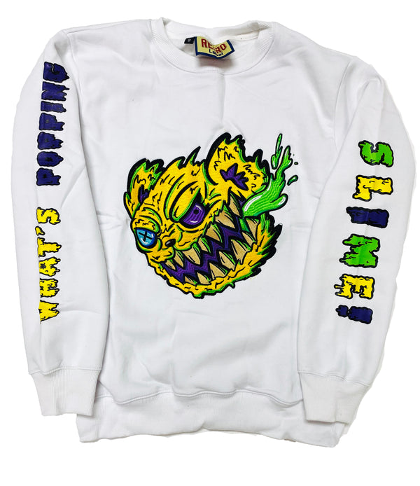 RETRO LABEL Slime Bear Crewneck (White)
