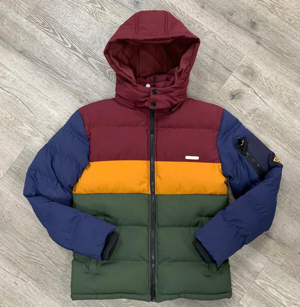 Black Keys Color Block Jacket (Burgundy/Yellow/Green)