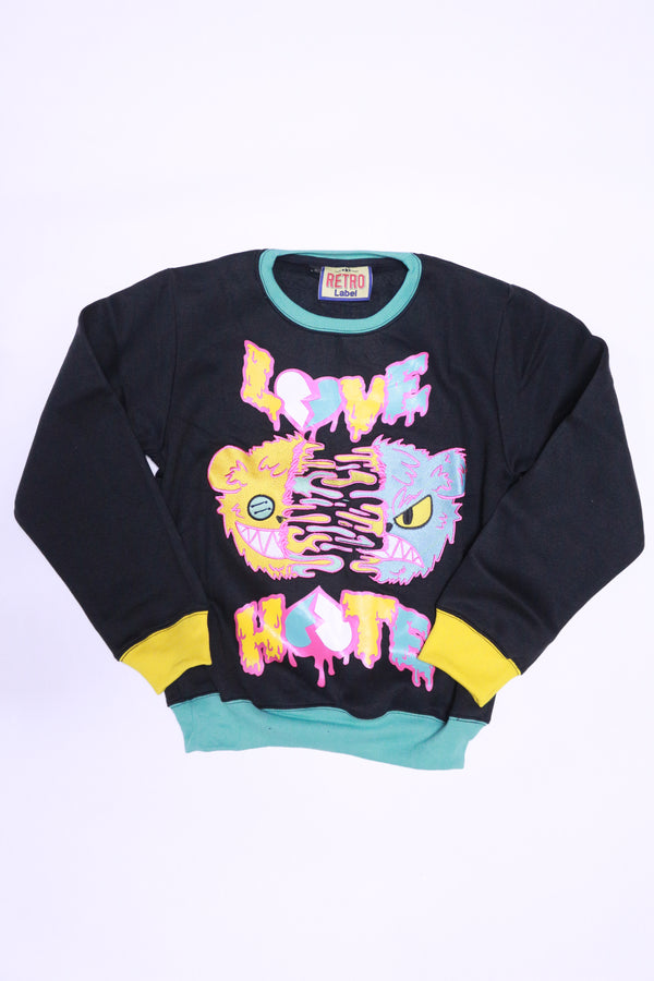 RETRO LABEL Love Hate Crewneck sweater (black/multi)