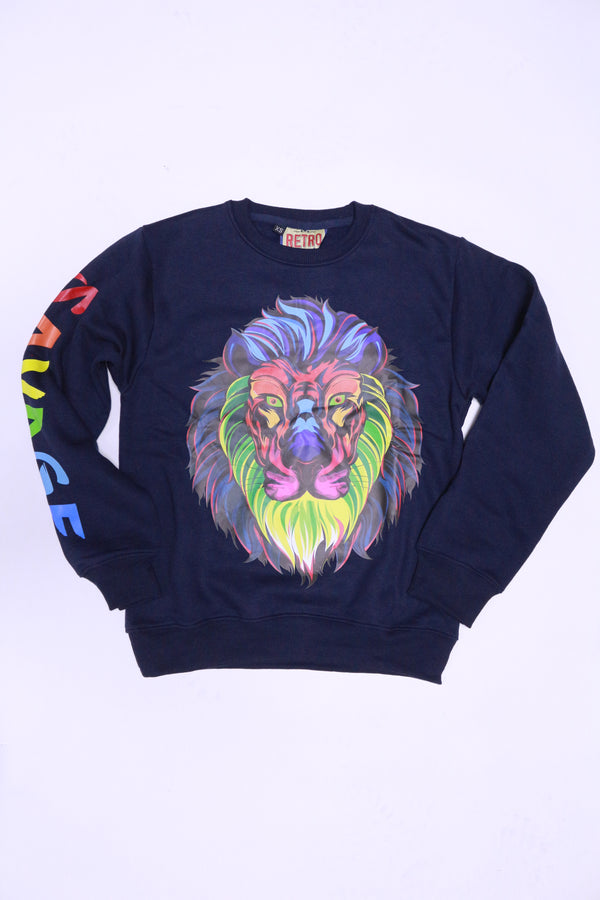 Retro Label Savage Tiger Crewneck (navy)