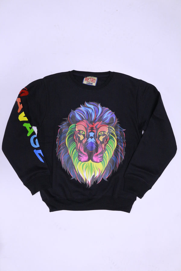 Retro Label Savage Tiger Crewneck (black)