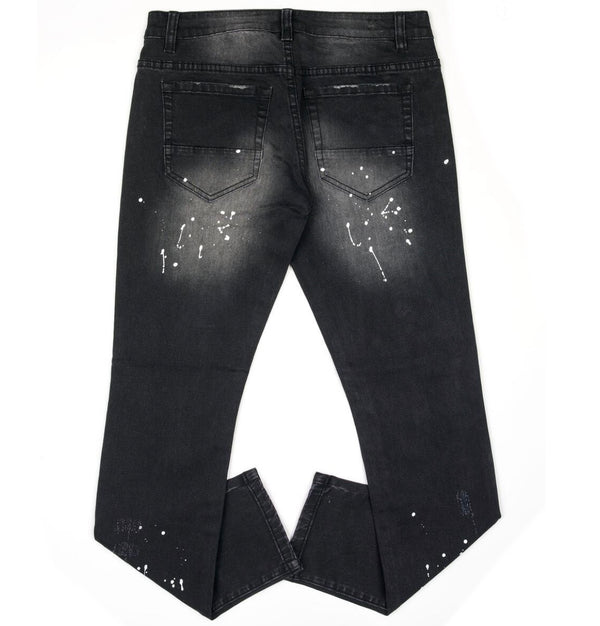 Kilogram Black Wash Denim  (White Paint Splatter)